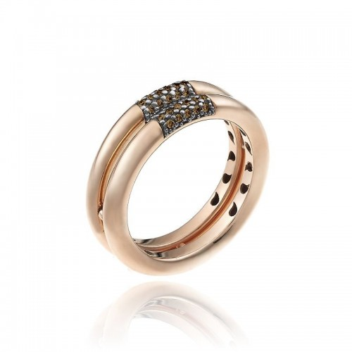 Bamboo-Pure-anello-due-file-oro-rosa-diamanti-brown
