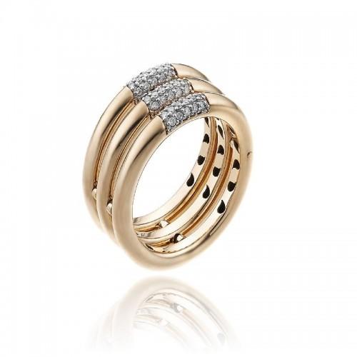 Bamboo-Pure-anello-tre-file-oro-rosa