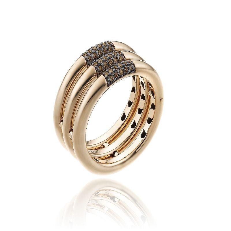 Bamboo-Pure-anello-tre-file-oro-rosa-diamanti-brown
