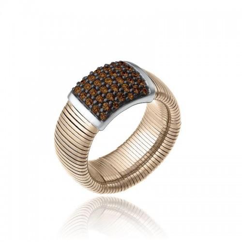 CHIMENTO-anello-grande-Stardust-Pavè-oro-rosa-diamanti-brown