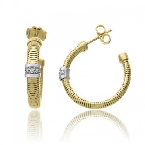 CHIMENTO-orecchini-tubogas-small-Stardust-Pavè-oro-giallo