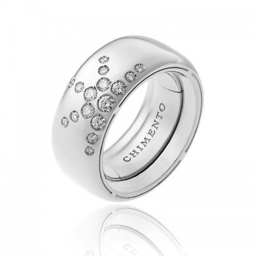 Anello CHIMENTO Forever LUCE con fascia multimisura 9 mm in oro bianco 18 kt e diamanti