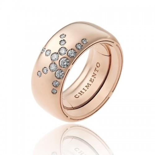 Anello CHIMENTO Forever LUCE con fascia multimisura 9 mm in oro rosa 18 kt e diamanti