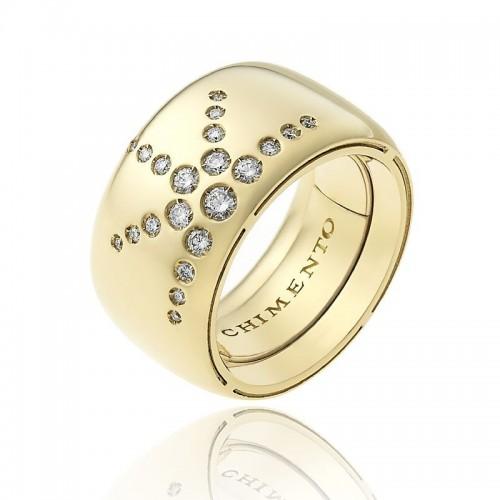 Anello CHIMENTO Forever LUCE con fascia multimisura 12 mm in oro giallo 18 kt e diamanti