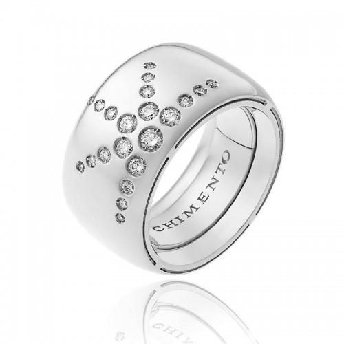 Anello CHIMENTO Forever LUCE con fascia multimisura 12 mm in oro bianco 18 kt e diamanti