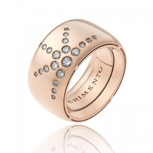Anello CHIMENTO Forever LUCE con fascia multimisura 12 mm in oro rosa 18 kt e diamanti
