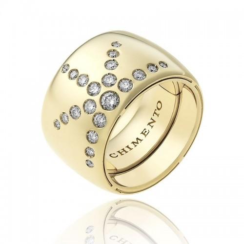 Anello CHIMENTO Forever LUCE con fascia multimisura 15 mm in oro giallo 18 kt e diamanti
