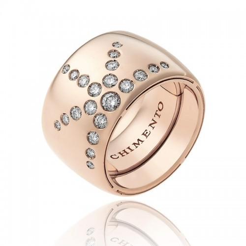 Anello CHIMENTO Forever LUCE con fascia multimisura 15 mm in oro rosa 18 kt e diamanti