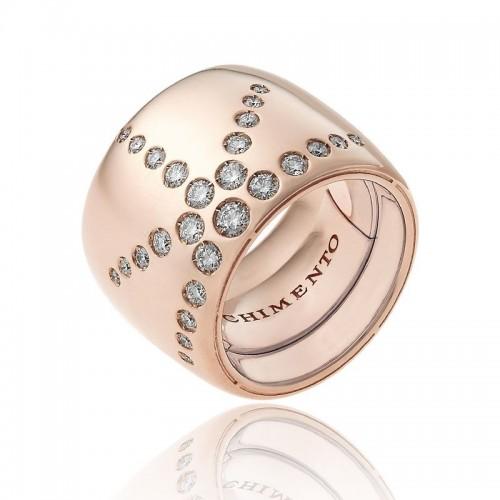 Anello CHIMENTO Forever LUCE con fascia multimisura 18 mm in oro rosa 18 kt e diamanti