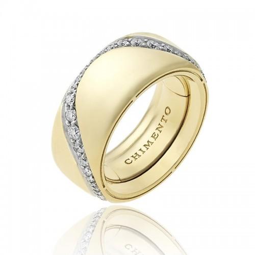 Anello CHIMENTO Forever Essenza con fascia multimisura 9 mm in oro giallo 18 kt e diamanti.