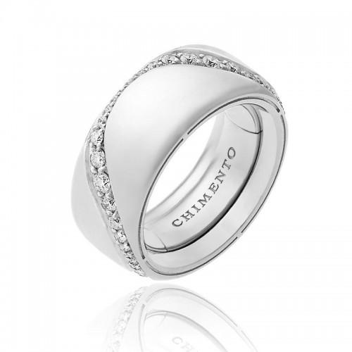 Anello multimisura CHIMENTO Forever Essenza con fascia 9 mm in oro bianco e diamanti.
