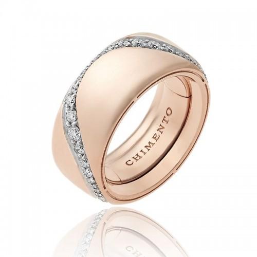 Anello multimisura CHIMENTO Forever Essenza con fascia 9 mm in oro rosa e diamanti.