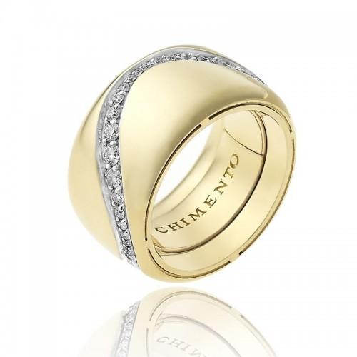 Anello CHIMENTO Forever Essenza con fascia multimisura 12 mm in oro giallo 18 kt e diamanti.
