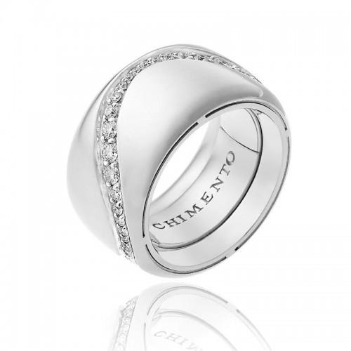 Anello CHIMENTO Forever Essenza con fascia multimisura 12 mm in oro bianco 18 kt e diamanti.