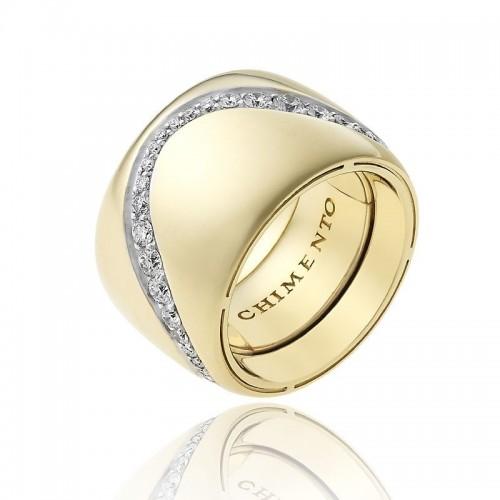 Anello CHIMENTO Forever Essenza con fascia multimisura 15 mm in oro giallo 18 kt e diamanti.