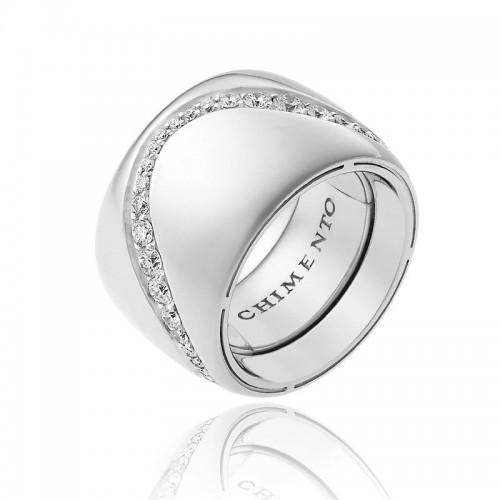 Anello CHIMENTO Forever Essenza con fascia multimisura 15 mm in oro bianco 18 kt e diamanti.