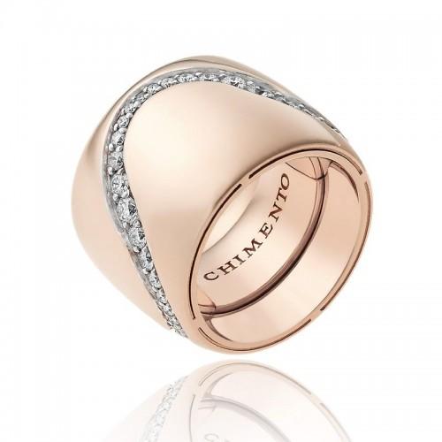Anello CHIMENTO Forever Essenza con fascia multimisura 18 mm in oro rosa 18 kt e diamanti.