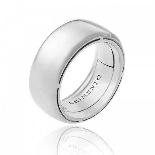 Anello CHIMENTO Forever UNICO personalizzabile altezza fascia 9 mm in oro boanco 18 kt e diamanti