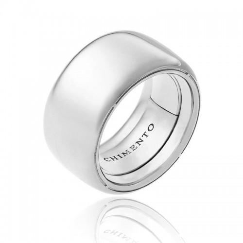 Anello CHIMENTO Forever UNICO personalizzabile altezza fascia 12 mm in oro bianco 18 kt e diamanti