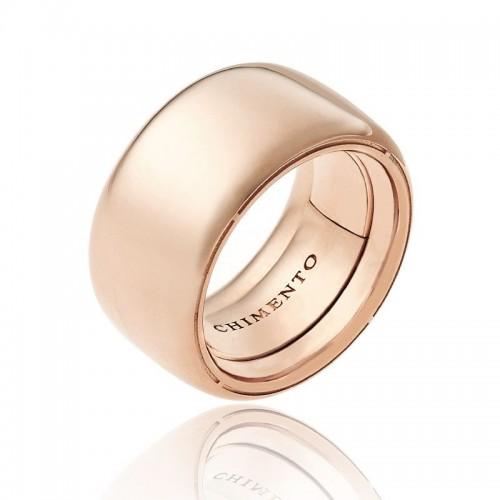 Anello CHIMENTO Forever UNICO personalizzabile altezza fascia 12 mm in oro rosa 18 kt e diamanti
