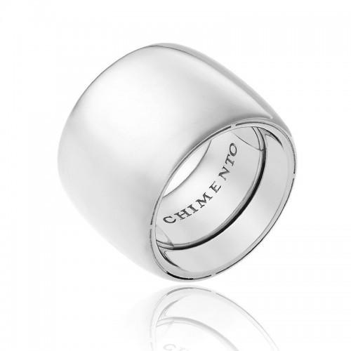 Anello CHIMENTO Forever UNICO personalizzabile altezza fascia 18 mm in oro bianco 18 kt e diamanti
